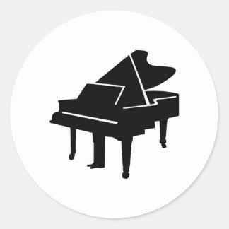 Black Grand Piano Classic Round Sticker