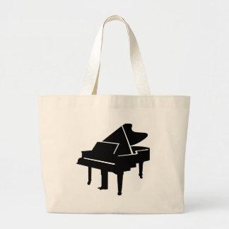 Black Grand Piano Large Tote Bag