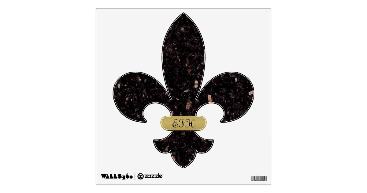 Black Granite Fleur De Lis Wall Decal Zazzle