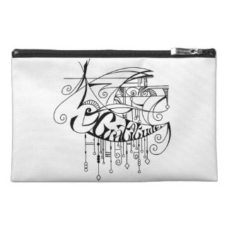 Black Gratitude In Lines and Dangles Travel Accessory Bags