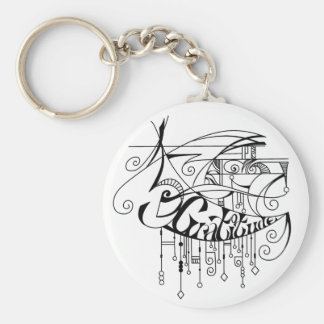 Black Gratitude In Lines and Dangles Keychain