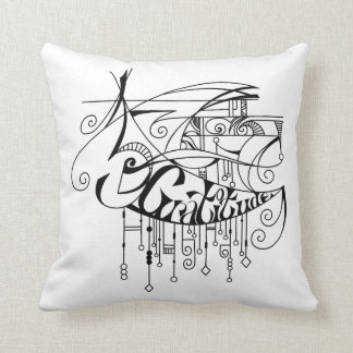 Black Gratitude In Lines and Dangles Throw Pillow