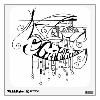 Black Gratitude In Lines and Dangles Wall Decal