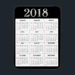 """Black Gray  2018 Calendar Refrigerator Magnet<br><div class=""""desc"""">Black and Gray Polka dots  2018 Calendar Refrigerator Magnet</div>"""