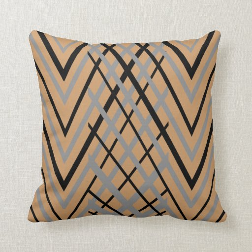 black gray and brown pattern pillow zazzle. Black Bedroom Furniture Sets. Home Design Ideas