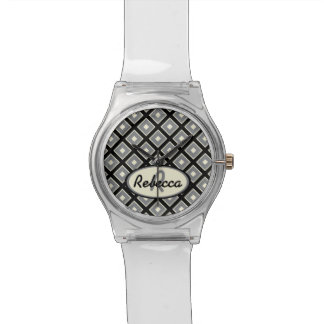 Black gray and off white chic diamond wristwatches