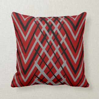 Black, Gray and Red Pattern Pillows