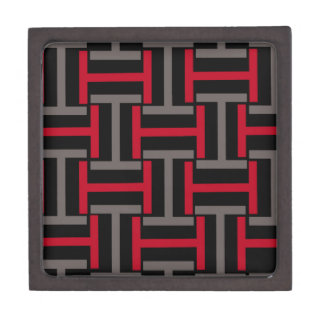 Black, Gray and Red T Weave Jewelry Box