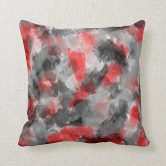 Black, Gray and Red Watercolor Pillow