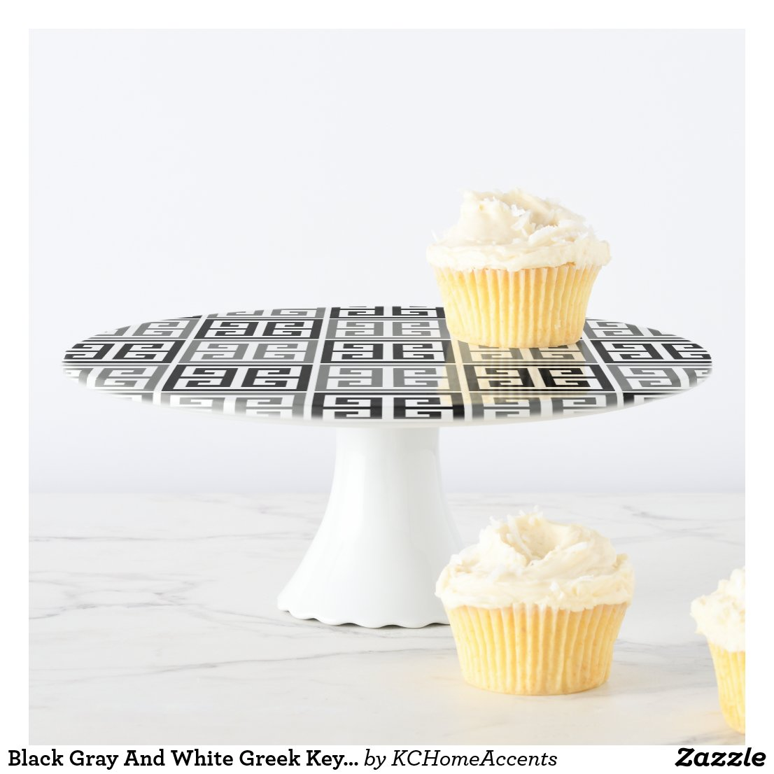 Black Gray And White Greek Key Pattern Cake Stand
