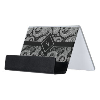 Black Gray and White Paisley Initial Desk Business Card Holder