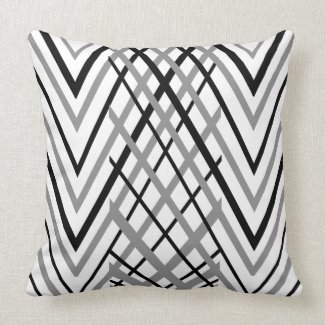 Black, Gray and White Pattern Pillow