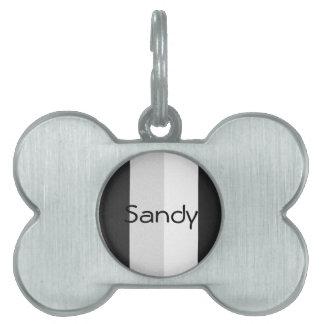 Black Gray and White Pet Name Tag