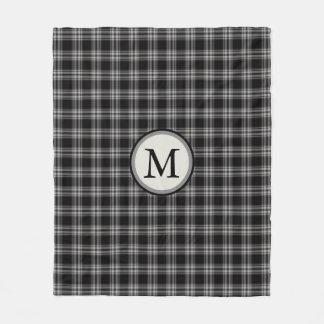 Black Gray And White Plaid Pattern Monogram Fleece Blanket