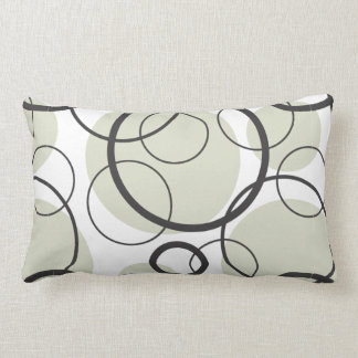 Black Gray and White Random Circle Pattern Pillow