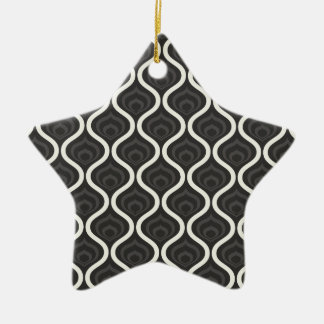 Black, Gray, and White Retro Pattern Double-Sided Star Ceramic Christmas Ornament