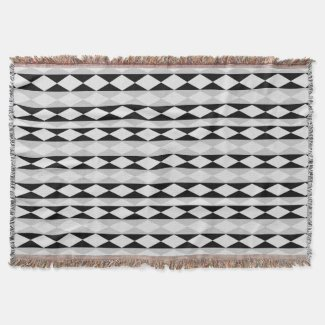 Black, Gray And White Throw Blanket