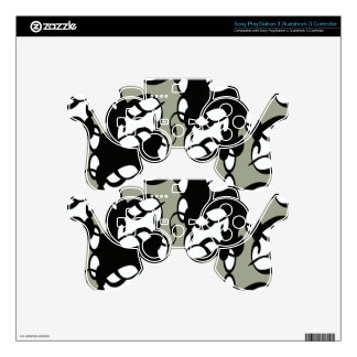Black,Gray and White Tribal Lace Decal For PS3 Controller
