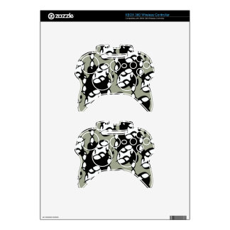 Black,Gray and White Tribal Lace Xbox 360 Controller Skin