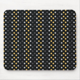 Black, Gray, and Yellow Star; Stars Pattern Mouse Pad