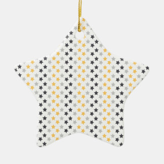 Black, Gray, and Yellow Stars, Starry Pattern Double-Sided Star Ceramic Christmas Ornament
