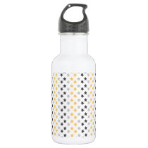 Black, Gray, and Yellow Stars, Starry Pattern Water Bottle