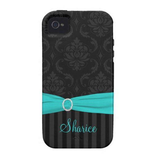 Black Gray Aqua Damask Striped iPhone 4 Vibe iPhone 4 Cover