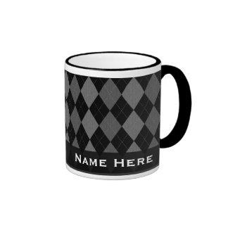 Black/Gray Argyle Fashion Handsome Mug