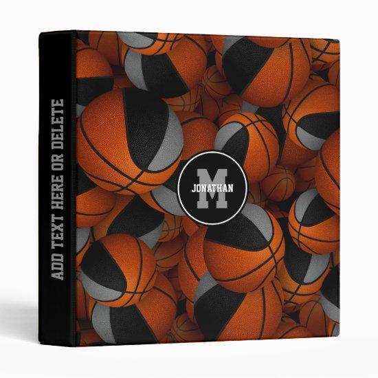 black gray boys girls team colors basketballs 3 ring binder