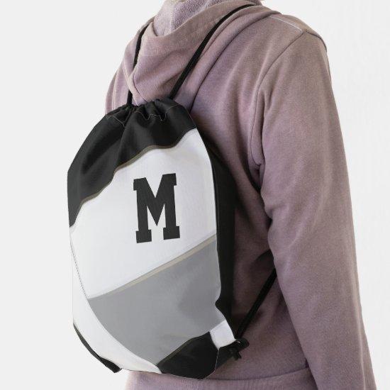 black gray boys girls volleyball team colors drawstring bag