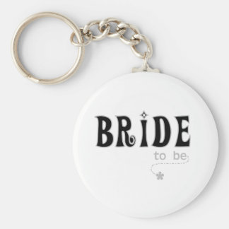 Black/Gray Bride to Be Basic Round Button Keychain