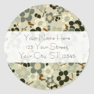 Black, Gray, Brown & White Flowers Classic Round Sticker
