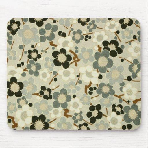 Black, Gray, Brown & White Flowers Mouse Pad