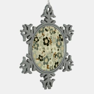 Black, Gray, Brown & White Flowers Snowflake Pewter Christmas Ornament