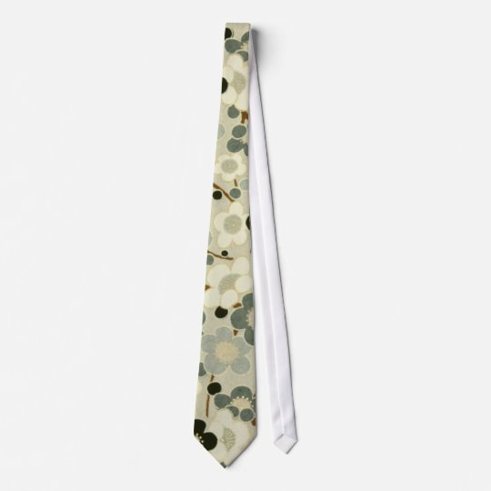 Black, Gray, Brown & White Flowers Tie