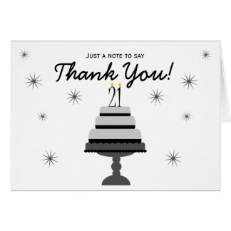 Black Gray Cake 21st Birthday Thank You Note Card