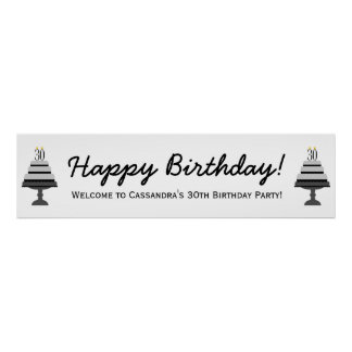 Black Gray Cake 30th Birthday Party Banner Poster