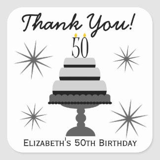 Black & Gray Cake 50th Birthday Favor Stickers