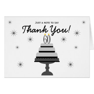 Black Gray Cake 60th Birthday Thank You Note Card