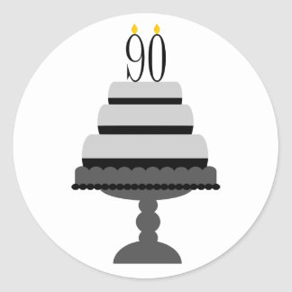 Black & Gray Cake 90th Birthday Stickers