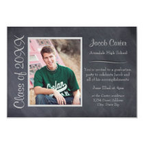 Black/Gray Chalkboard -3x5 Graduation Announcement