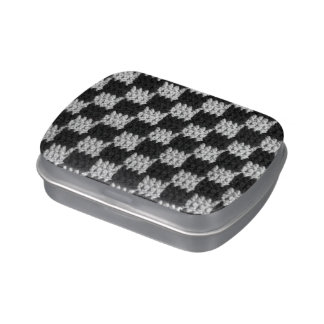 Black Gray Checkered Crochet Print Mint Container Jelly Belly Tin