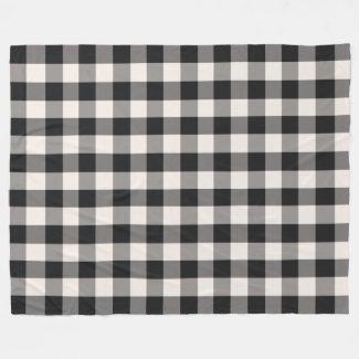 Black, Gray, Cream Buffalo Check Fleece Blanket