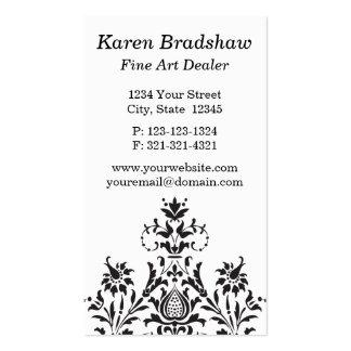 Black & Gray Damask Fine Art Dealer Business Cards