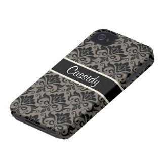Black & Gray Damask Floral Name Blackberry Case