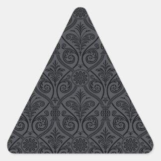 Black Gray Damask Print Triangle Sticker