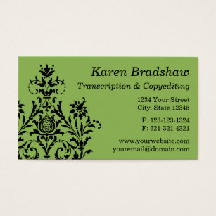 Transcription business cards templates zazzle black gray damask transcription business card colourmoves