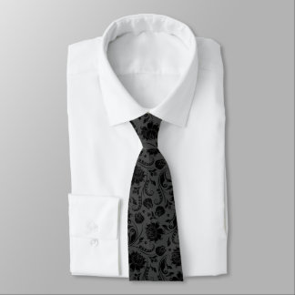 Black & Gray Damasks Monochromatic Design Tie