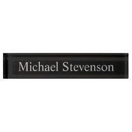 Black Gray Elegant Modern Business Nameplate