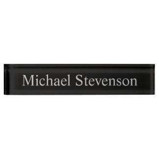 Black Gray Elegant Modern Business Nameplate